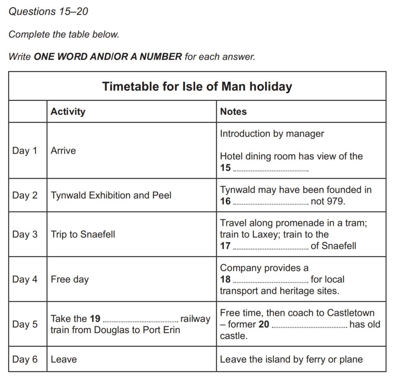timetable for isle of man holiday ielts listening