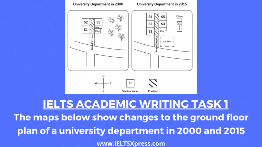 The maps below show changes to the ground floor plan of a university department in 2000 and 2015 ielts academic writing